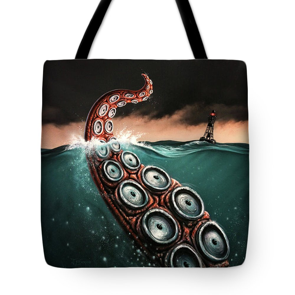 Squid Tote Bag featuring the painting Beast 1 by Jerry LoFaro