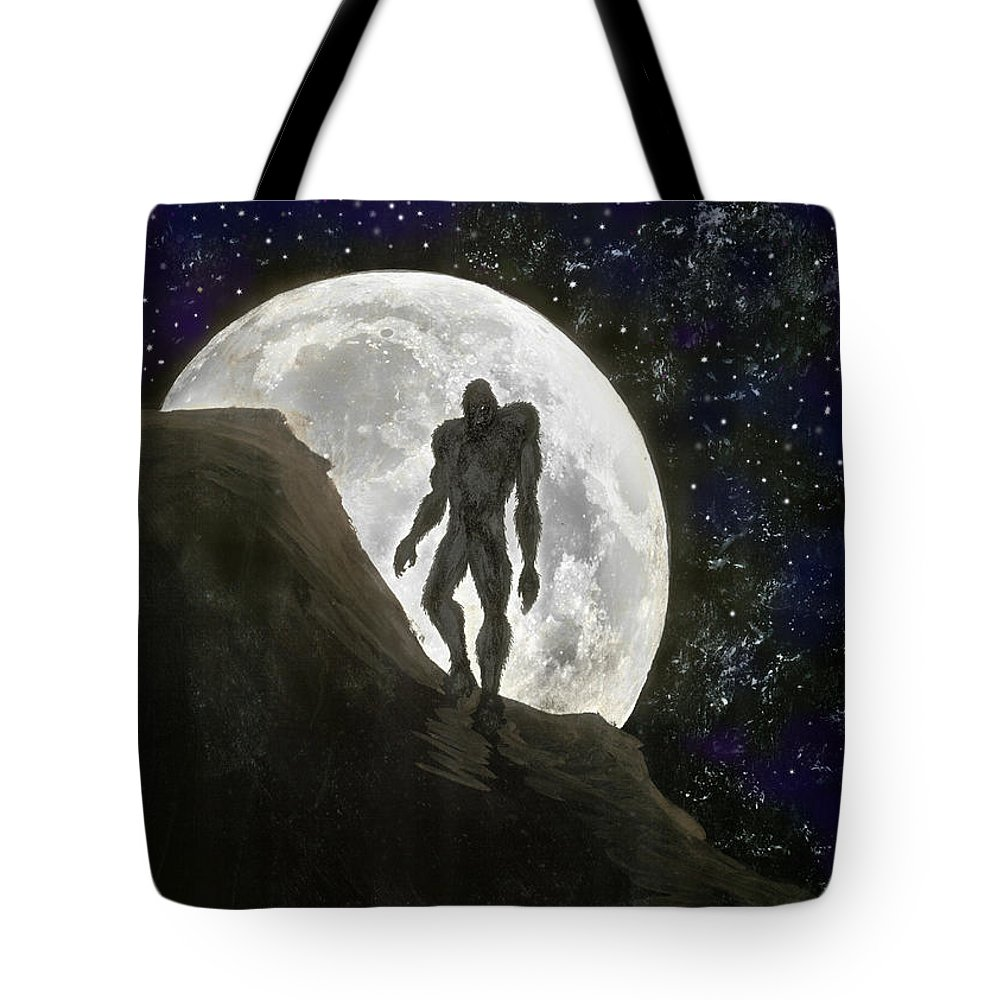 Beast Tote Bag featuring the painting Beast At Full Moon by Kevin Middleton