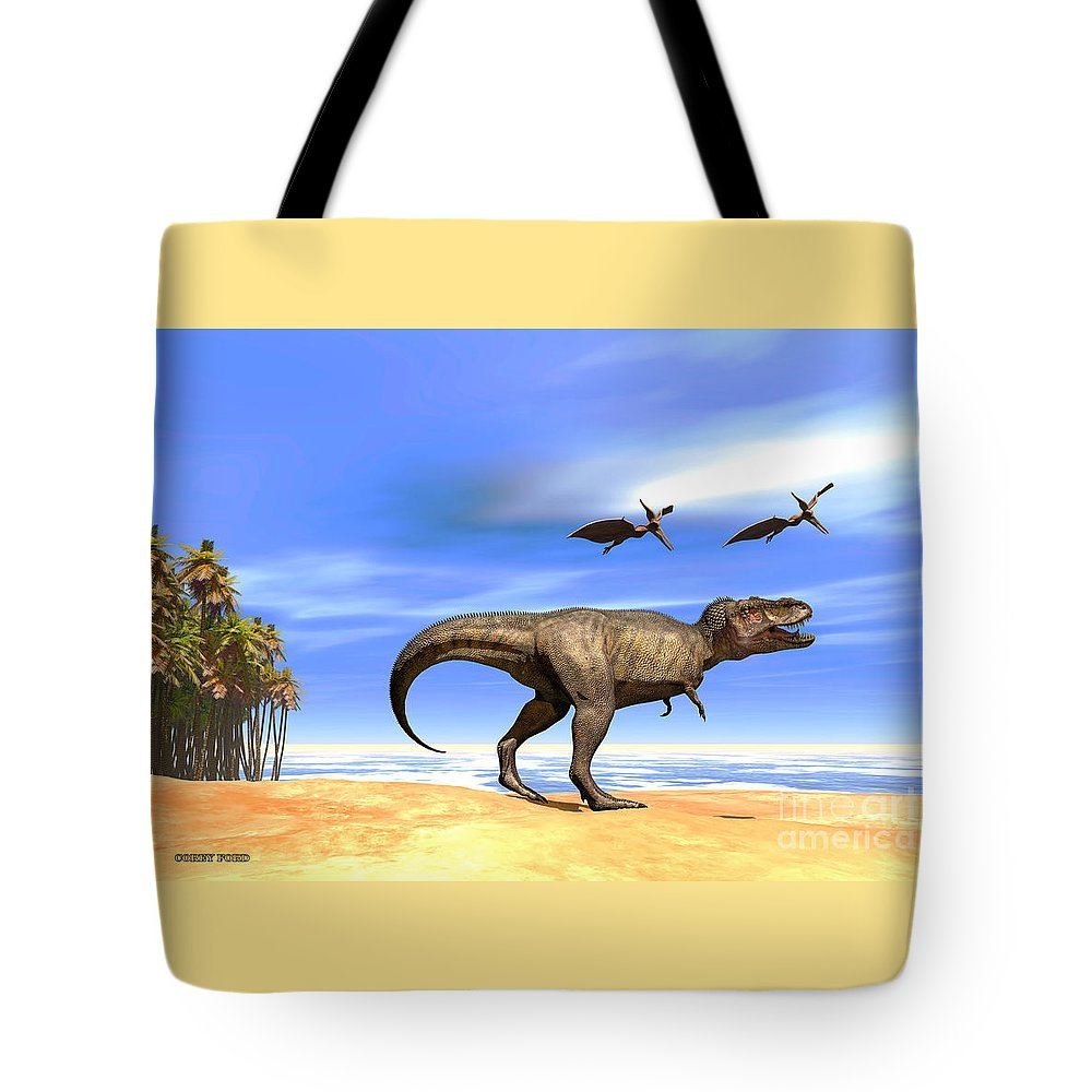Tyrannosaurus Rex Tote Bag featuring the painting Beast by Corey Ford