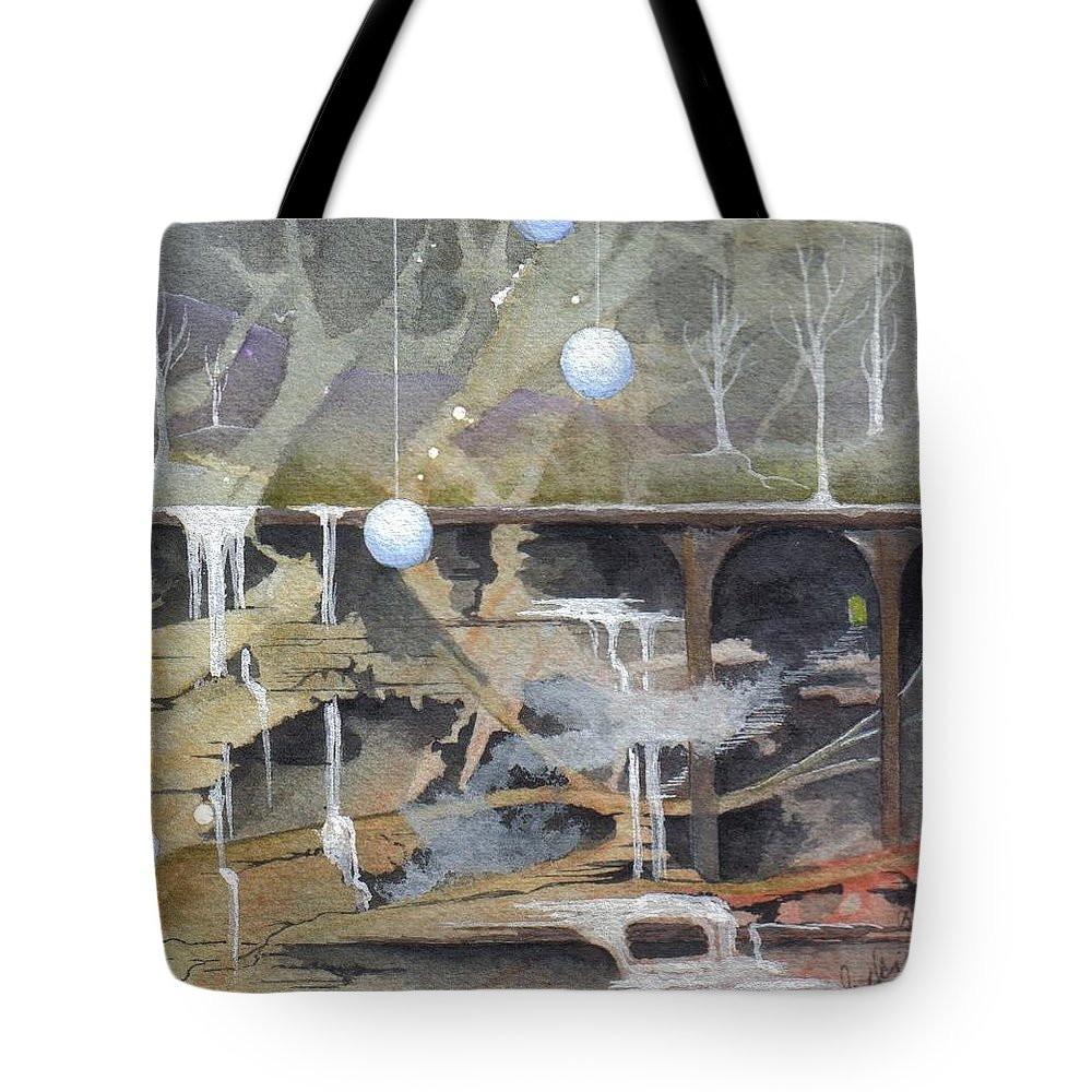 Fantasy Landscape Tote Bag featuring the painting Beata's Destiny by Jackie Mueller-Jones