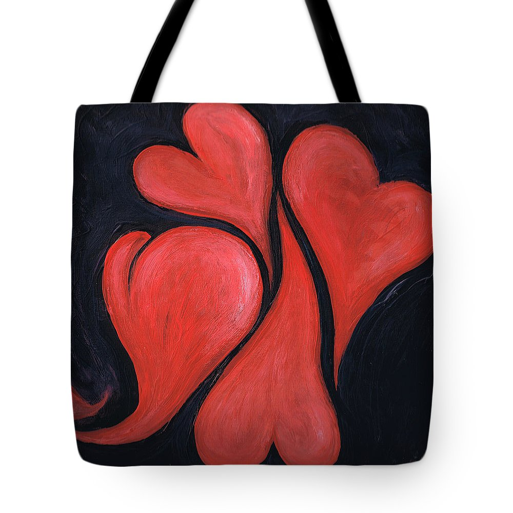 Hearts Tote Bag featuring the painting Beating Hearts by Nancy Mueller