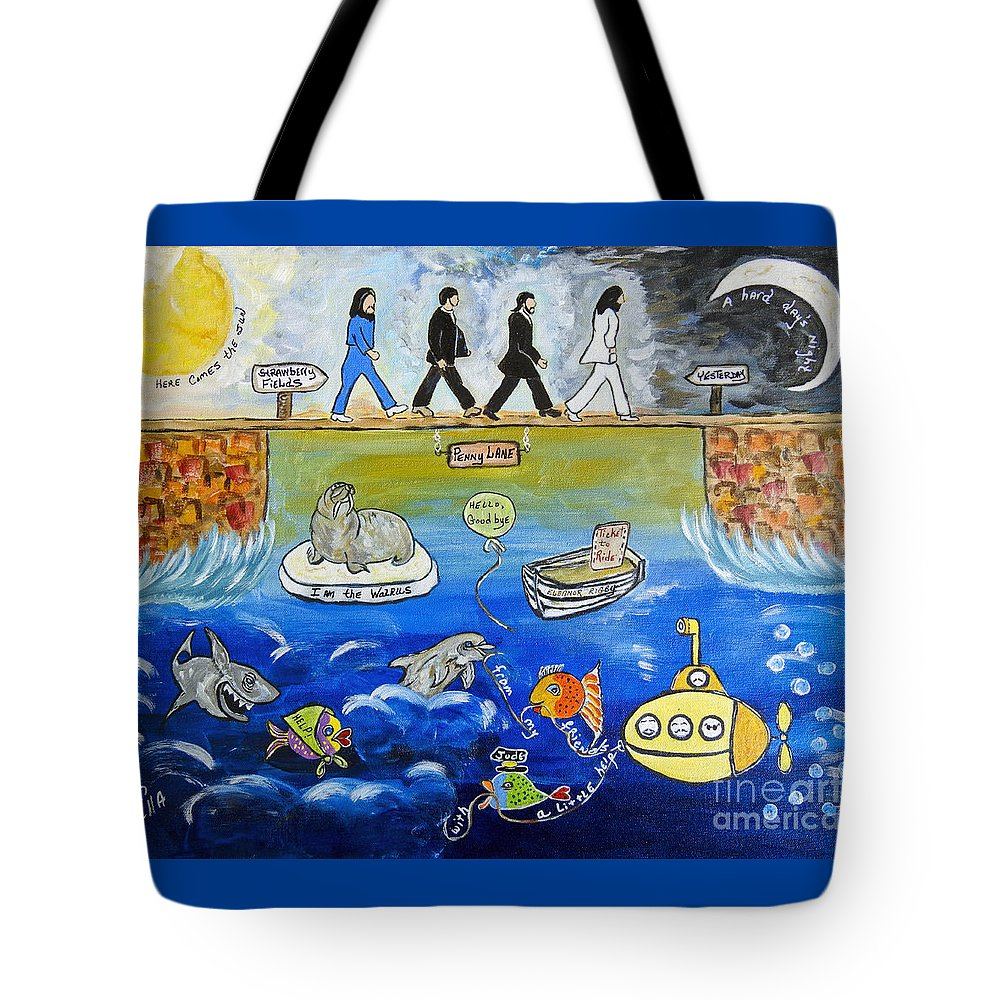 The Beatles Tote Bag featuring the painting Beatles Song Titles Original Painting Characterization by Ella Kaye Dickey