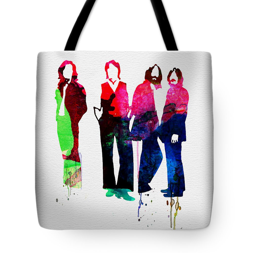 Beatles Tote Bag featuring the painting Beatles Watercolor by Naxart Studio