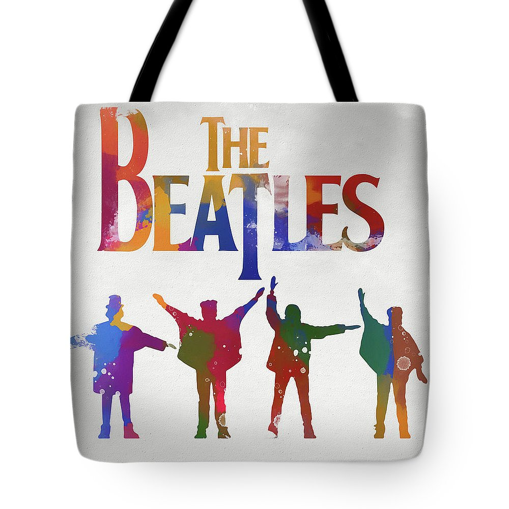 Beatles Watercolor Poster Tote Bag featuring the painting Beatles Watercolor Poster by Dan Sproul