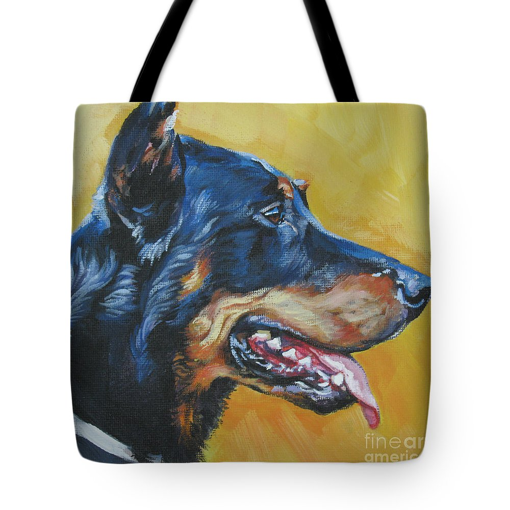 Beauceron Tote Bag featuring the painting Beauceron by Lee Ann Shepard