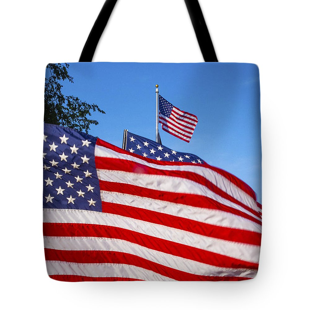 American Flag Island Park In Quincy Tote Bag featuring the photograph Beautiful American Flags by Irwin Sterbakov