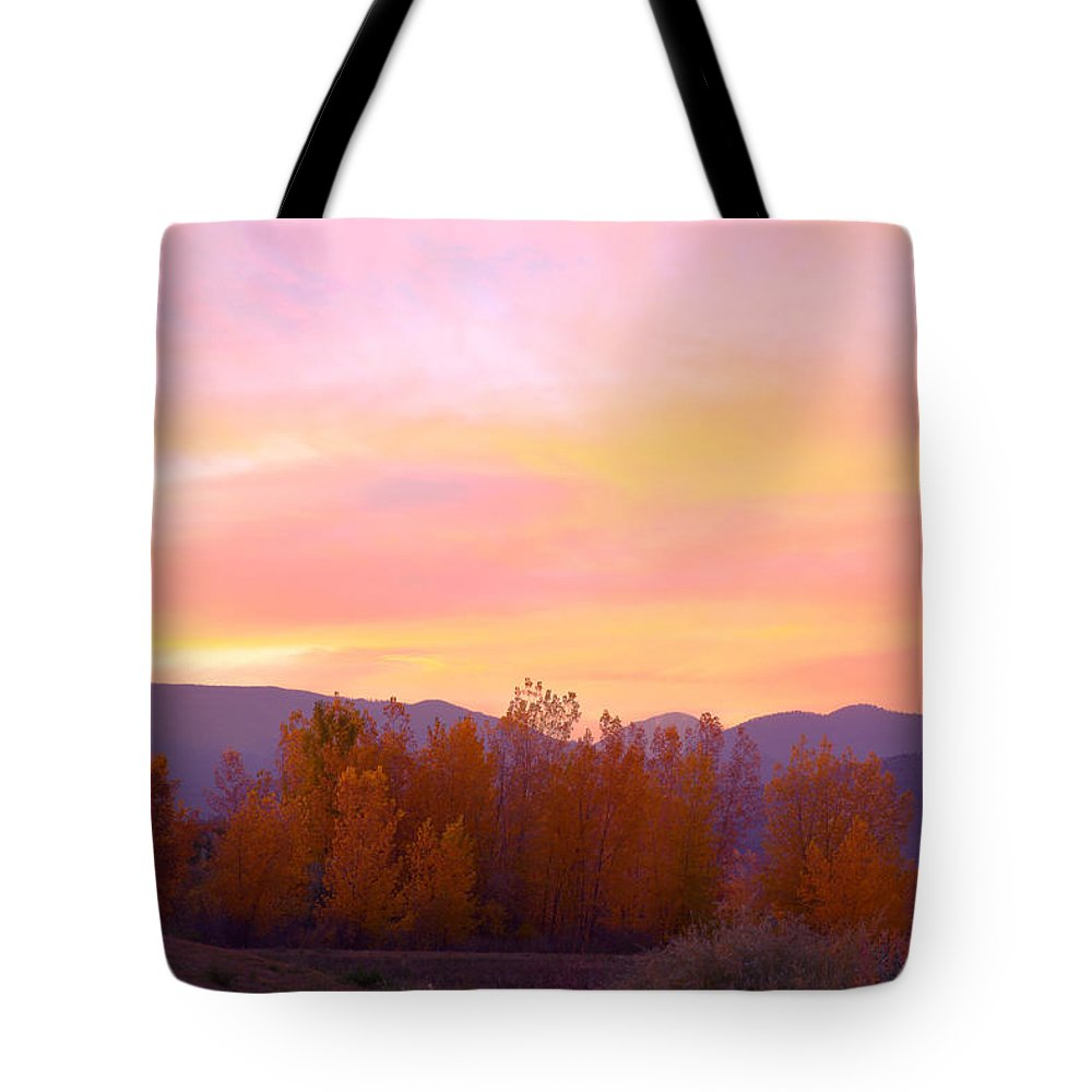 Sunsets Tote Bag featuring the photograph Beautiful Autumn Sunset by James BO Insogna