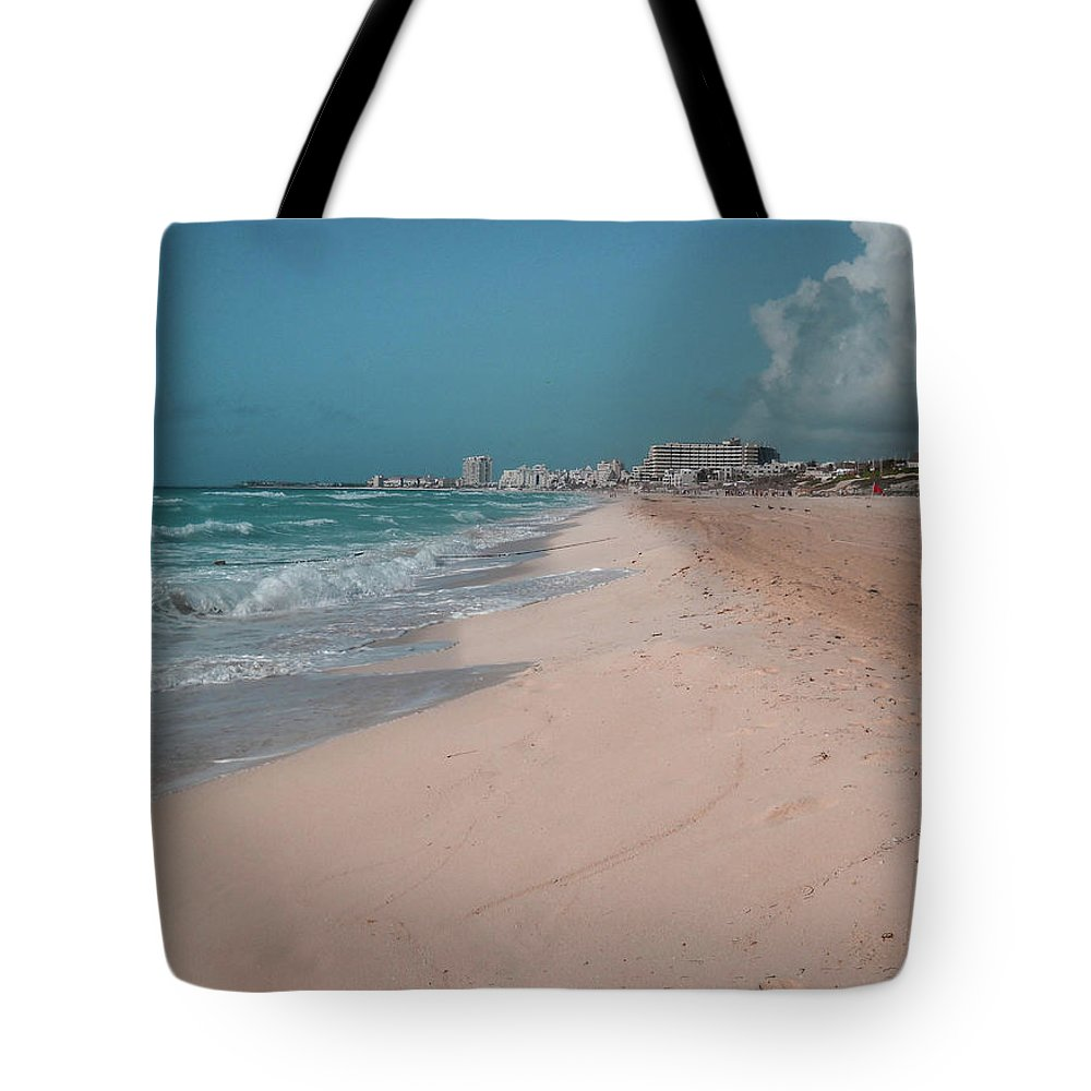 Beach Tote Bag featuring the digital art Beautiful Beach In Cancun, Mexico by Nicolas Gabriel Gonzalez