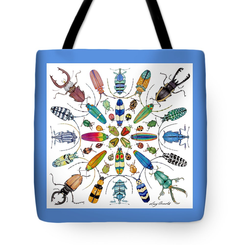 Insects Tote Bag featuring the painting Beautiful Beetles by Lucy Arnold