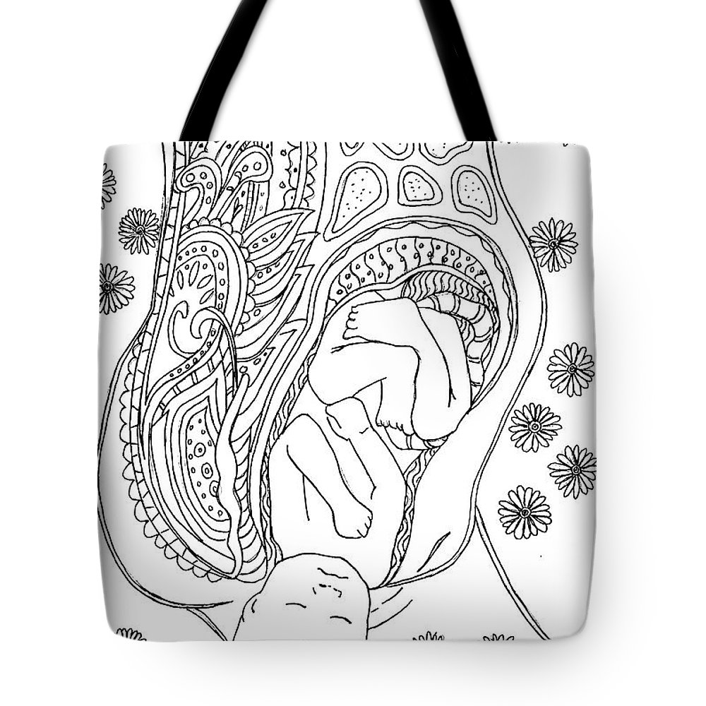 Birth Tote Bag featuring the drawing Beautiful Birth by Kate Evans