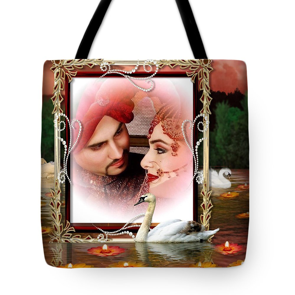 Bride Tote Bag featuring the digital art Beautiful Bridal Couple In Love by Clive Littin