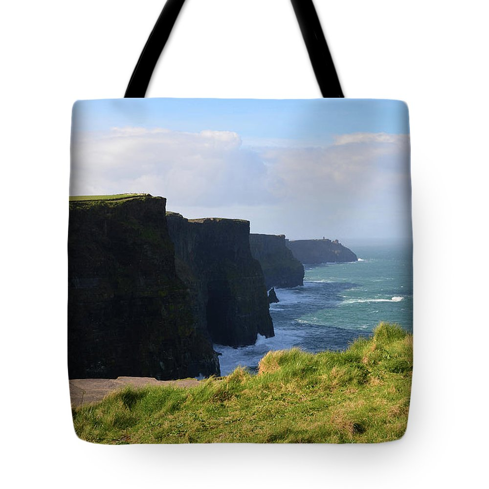 Cliffs-of-moher Tote Bag featuring the photograph Beautiful Cliff's Of Moher In Liscannor Ireland by DejaVu Designs