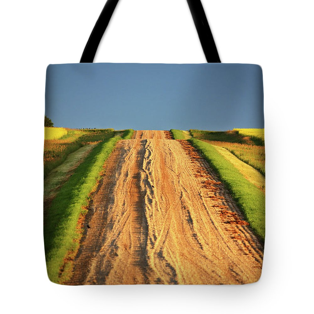 Dark Tote Bag featuring the digital art Beautiful Colors Along A Saskatchewan Country Road by Mark Duffy