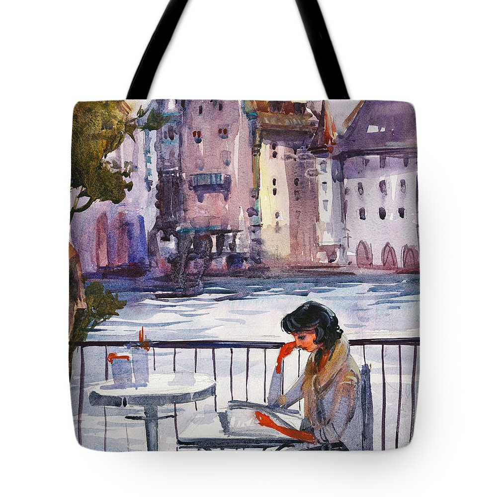 Landscape Tote Bag featuring the painting Beautiful Day, Reading by Kristina Vardazaryan