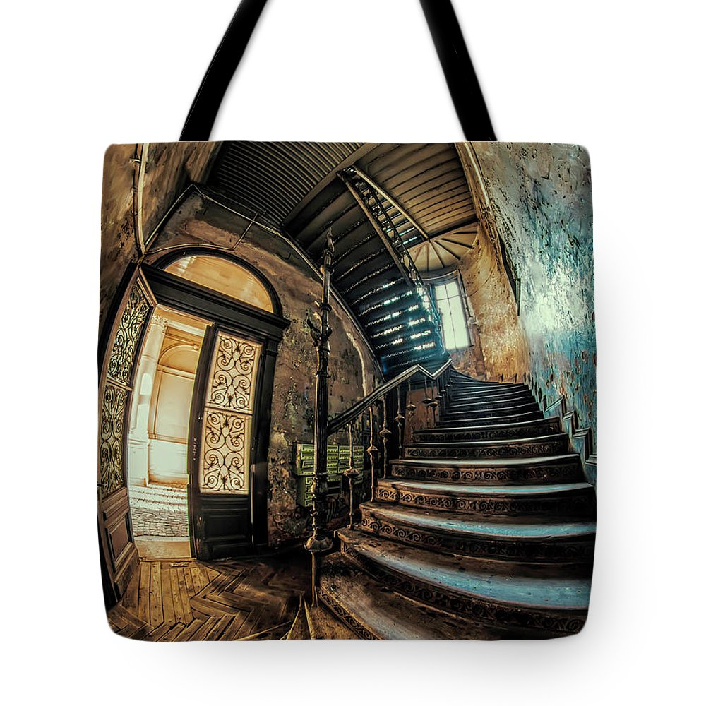 Staircase Tote Bag featuring the photograph Beautiful Forgotten Staircase by Jaroslaw Blaminsky