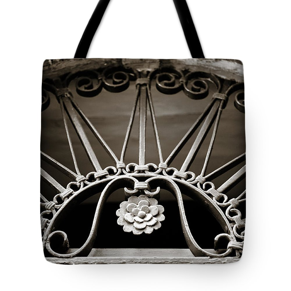 Beautiful Tote Bag featuring the photograph Beautiful Italian Metal Scroll Work 2 by Marilyn Hunt