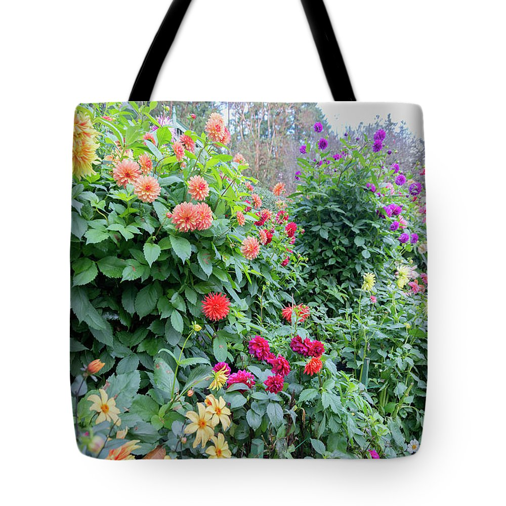 Outdoor Tote Bag featuring the photograph Beautiful Lot Of Dahlias,butchart Gardens,victoria,canada by Andrew Kim