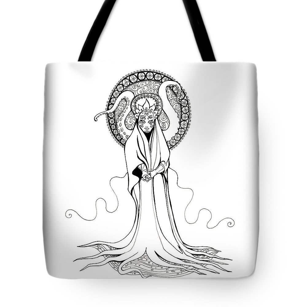 Monster Tote Bag featuring the drawing Beautiful Monster by Katherine Nutt
