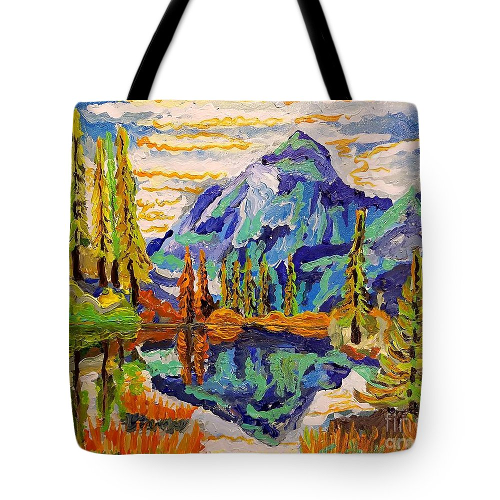 Acrylics Tote Bag featuring the painting Beautiful Mountainous Reflection by Timothy Michael Foley