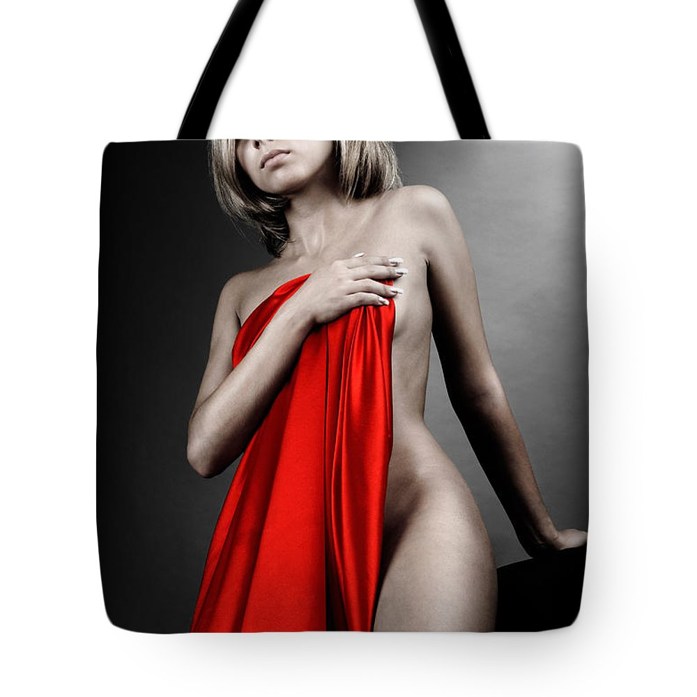 Glamour Tote Bag featuring the photograph Beautiful Naked Woman Covering Herself With Red Drape by Oleksiy Maksymenko