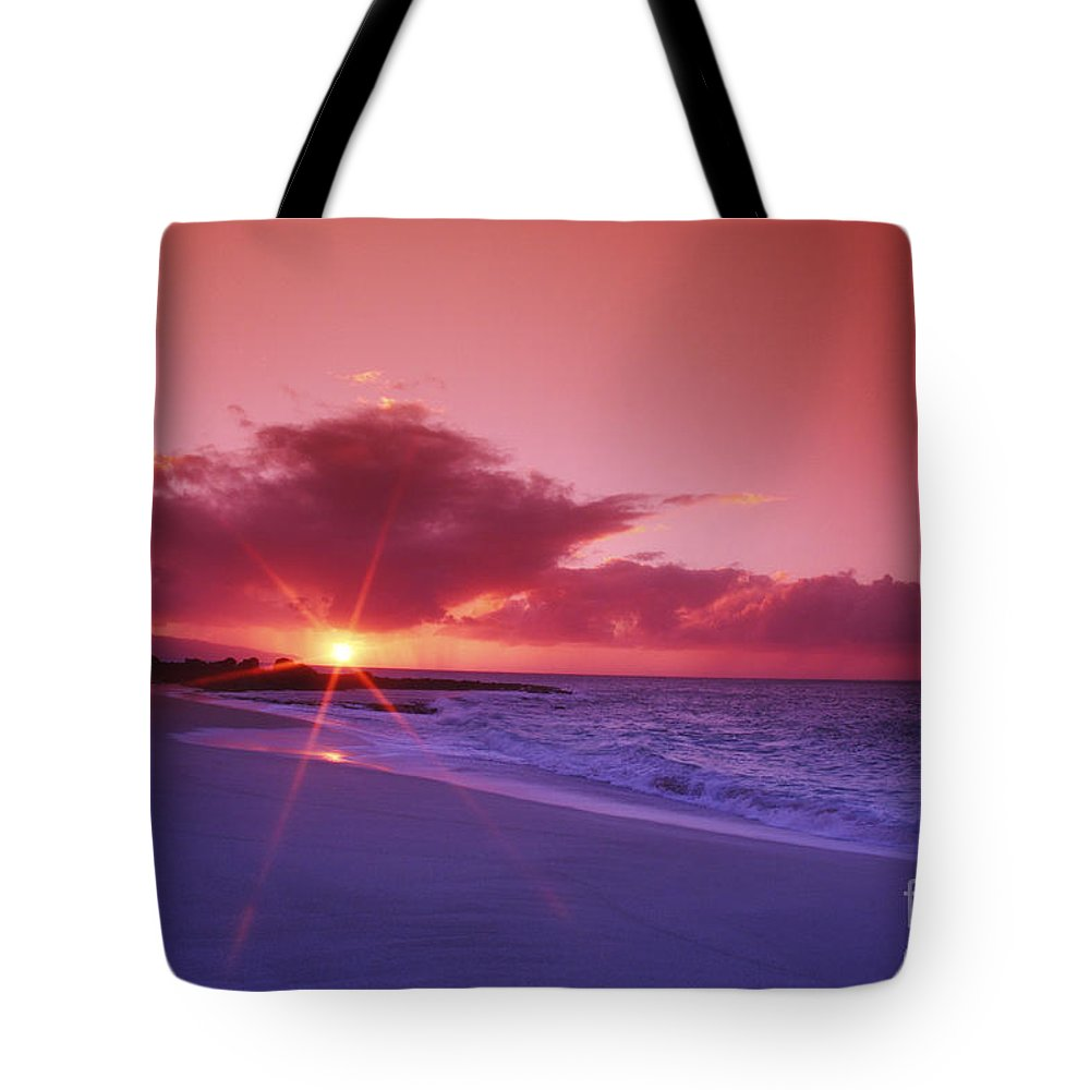 Beach Tote Bag featuring the photograph Beautiful Pink Sunset by Vince Cavataio - Printscapes