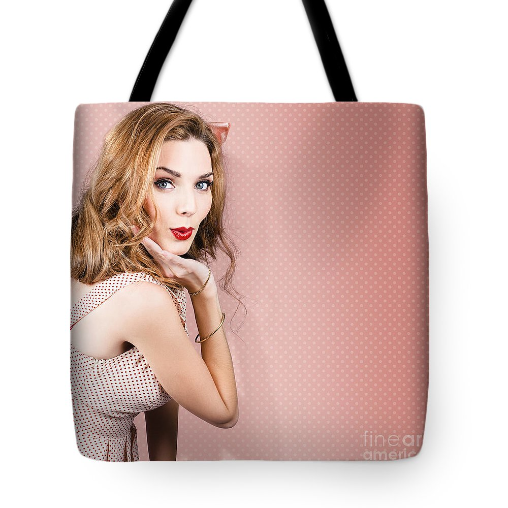 Pin-up Tote Bag featuring the photograph Beautiful Portrait Of 1950 Model Girl In Pin Up by Jorgo Photography - Wall Art Gallery