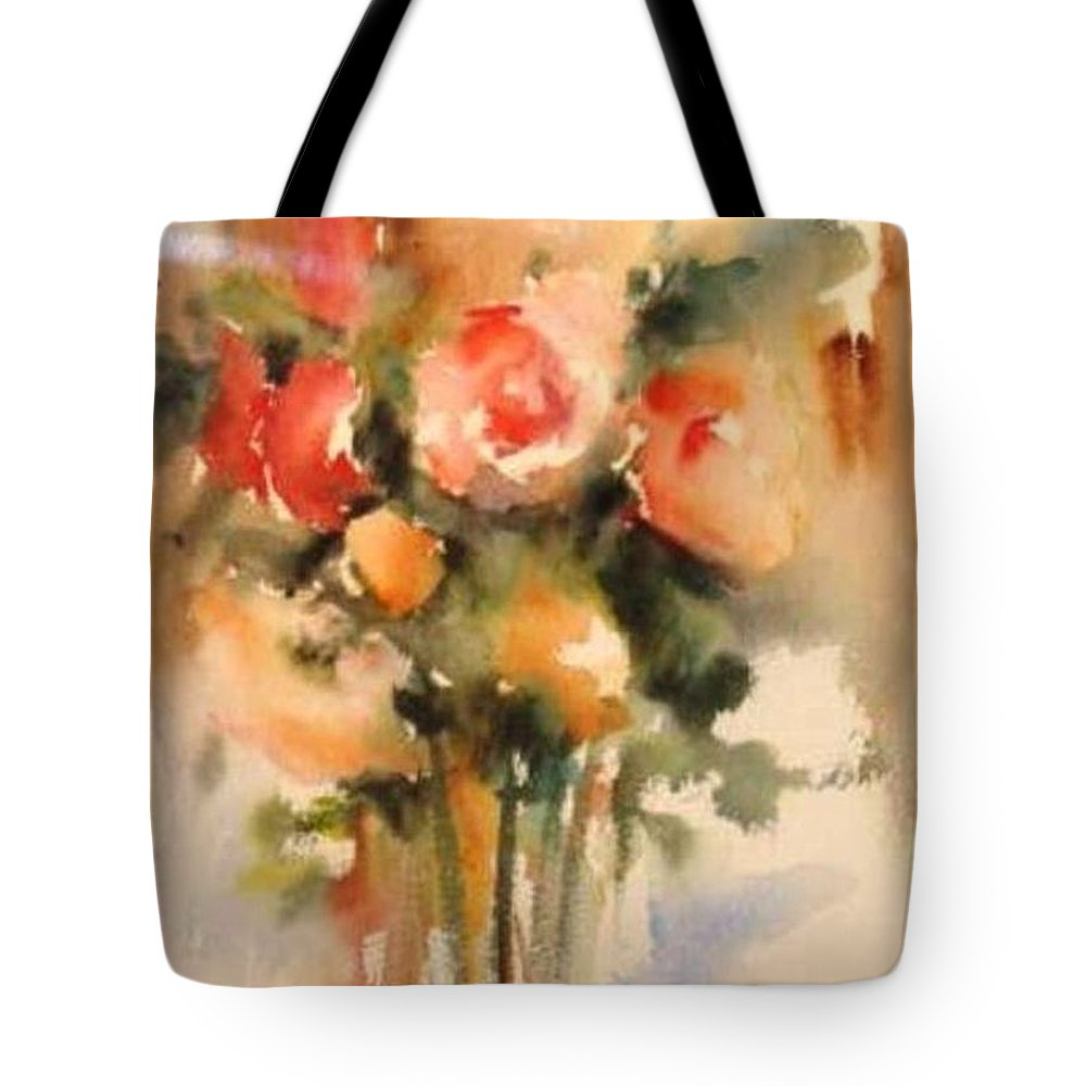 Floral Tote Bag featuring the painting Beautiful Roses by Vesna Grundler