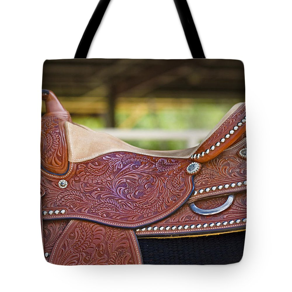 Americana Tote Bag featuring the photograph Beautiful Saddle by Marilyn Hunt