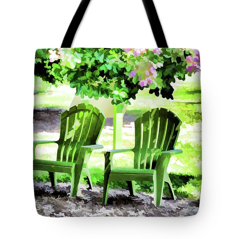 Bench And Containers Tote Bag featuring the painting Beautiful Spot For Relaxing 2 by Jeelan Clark