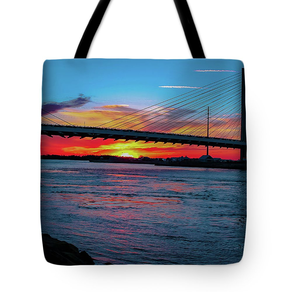 Sunsets Tote Bag featuring the photograph Beautiful Sunset Under The Bridge by Amy Bishop