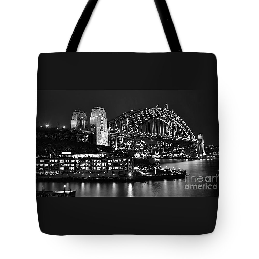 Beautiful Sydney Harbour In Black And White Tote Bag featuring the photograph Beautiful Sydney Harbour In Black And White by Kaye Menner