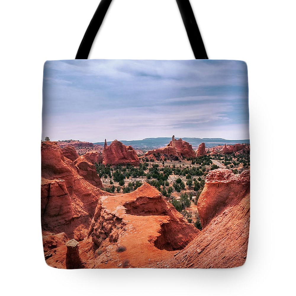 Bryce Tote Bag featuring the photograph Beautiful View From Above At Kodachrome Basin State Park by Daniela Constantinescu