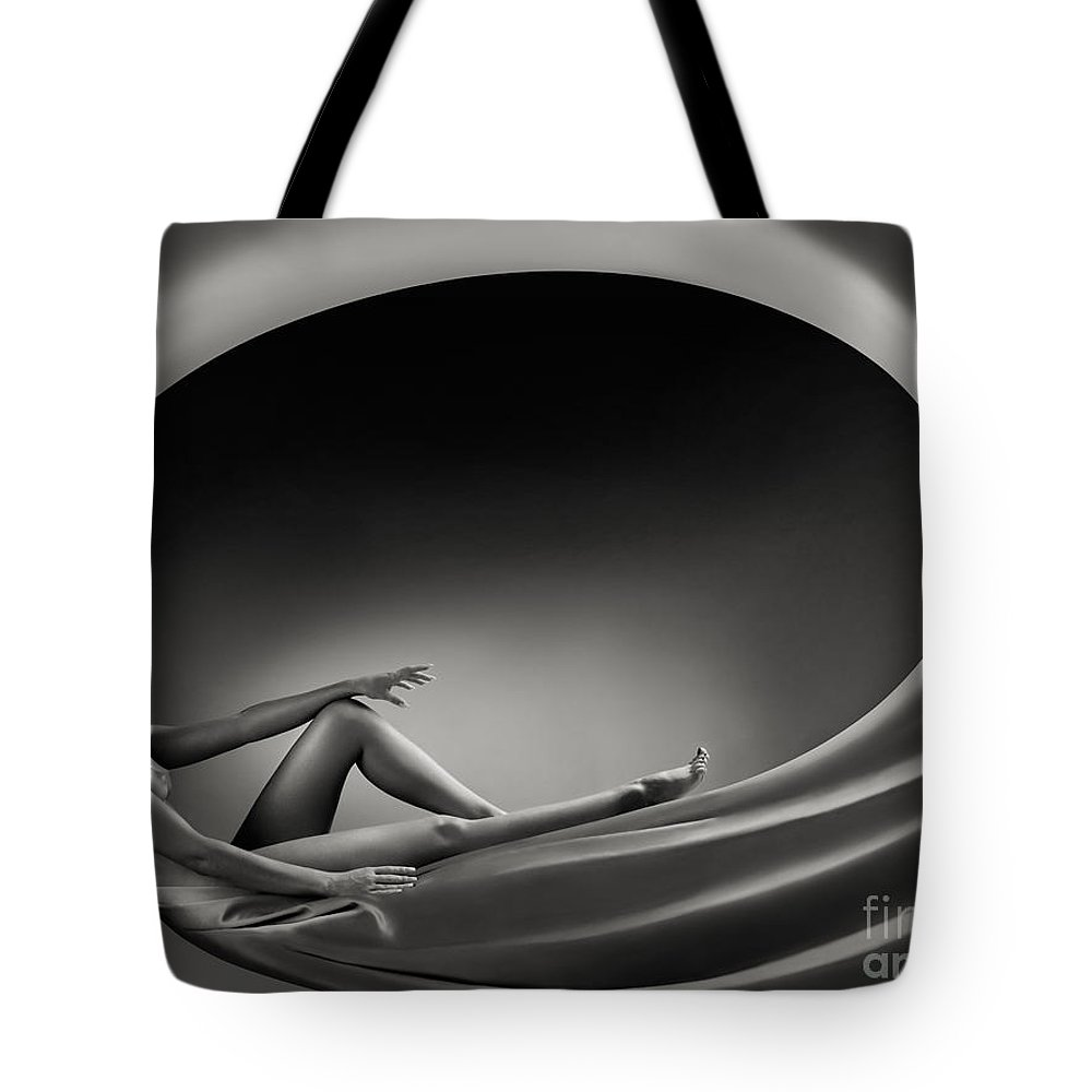 Beautiful Tote Bag featuring the photograph Beautiful Woman In A Whirl Of Power by Oleksiy Maksymenko