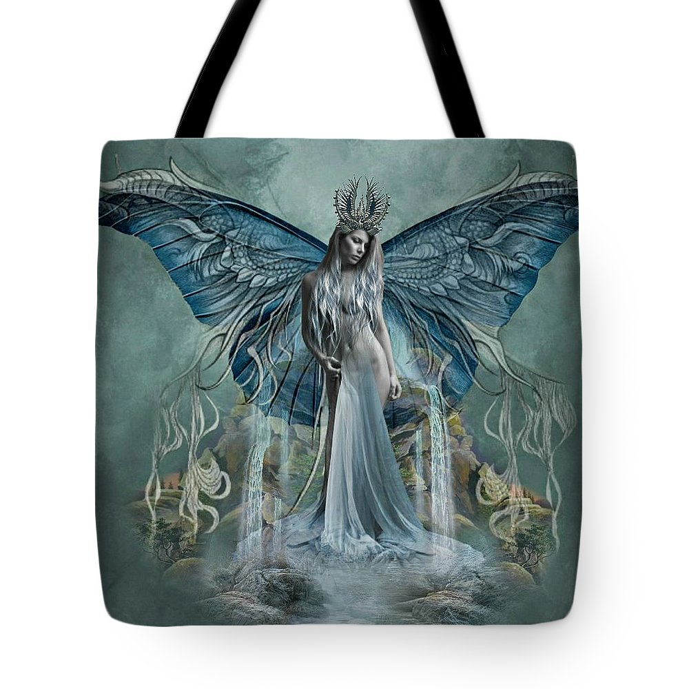 Art Tote Bag featuring the digital art Beauty At Butterfly Falls by Ali Oppy