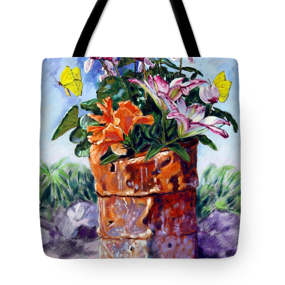 Flowers In Barrel Tote Bag featuring the painting Beauty Grows Everywhere by John Lautermilch