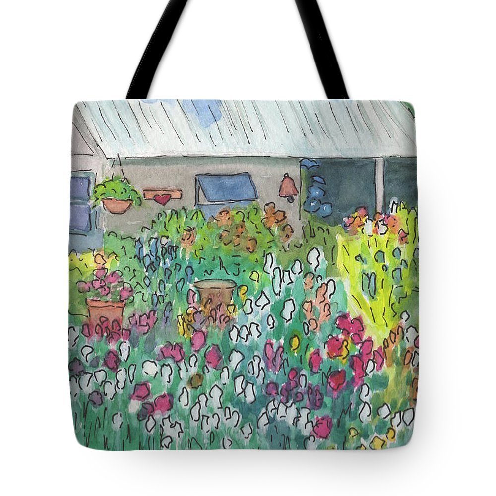 Watercolor Tote Bag featuring the painting Beauty In The Garden by Marcy Brennan