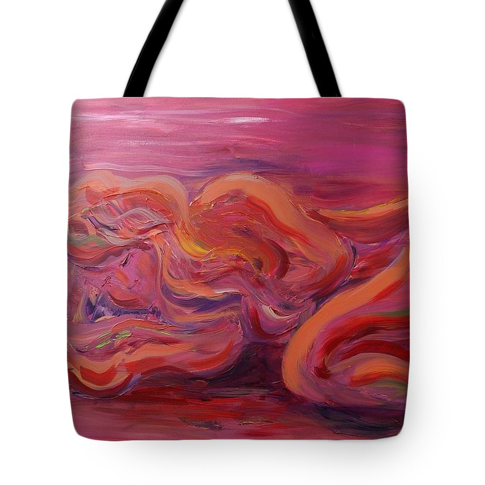 Nude Tote Bag featuring the painting Beauty by Nadine Rippelmeyer
