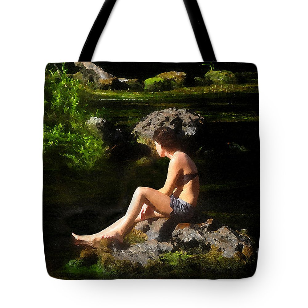 Beauty Tote Bag featuring the painting Beauty On The Rocks by David Lee Thompson