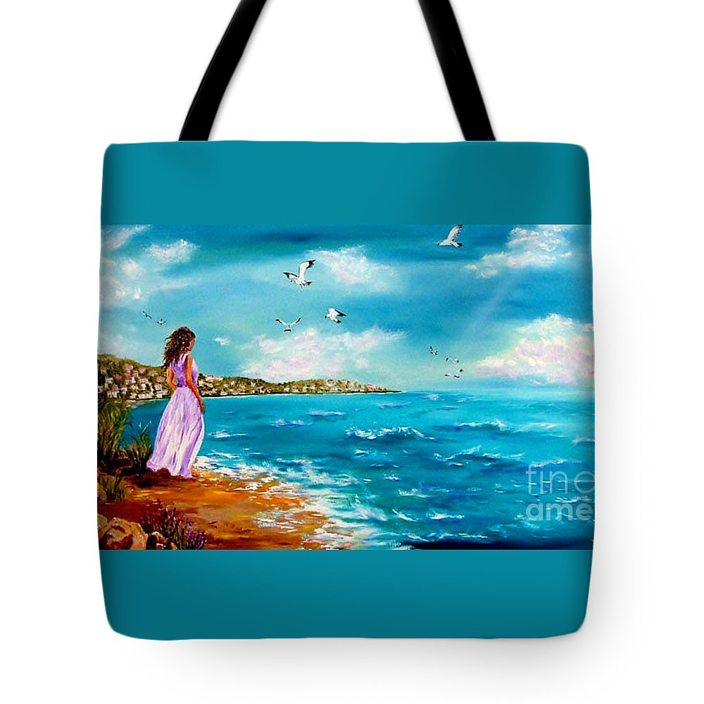 Women Tote Bag featuring the painting Beauty On The Shore by Inna Montano
