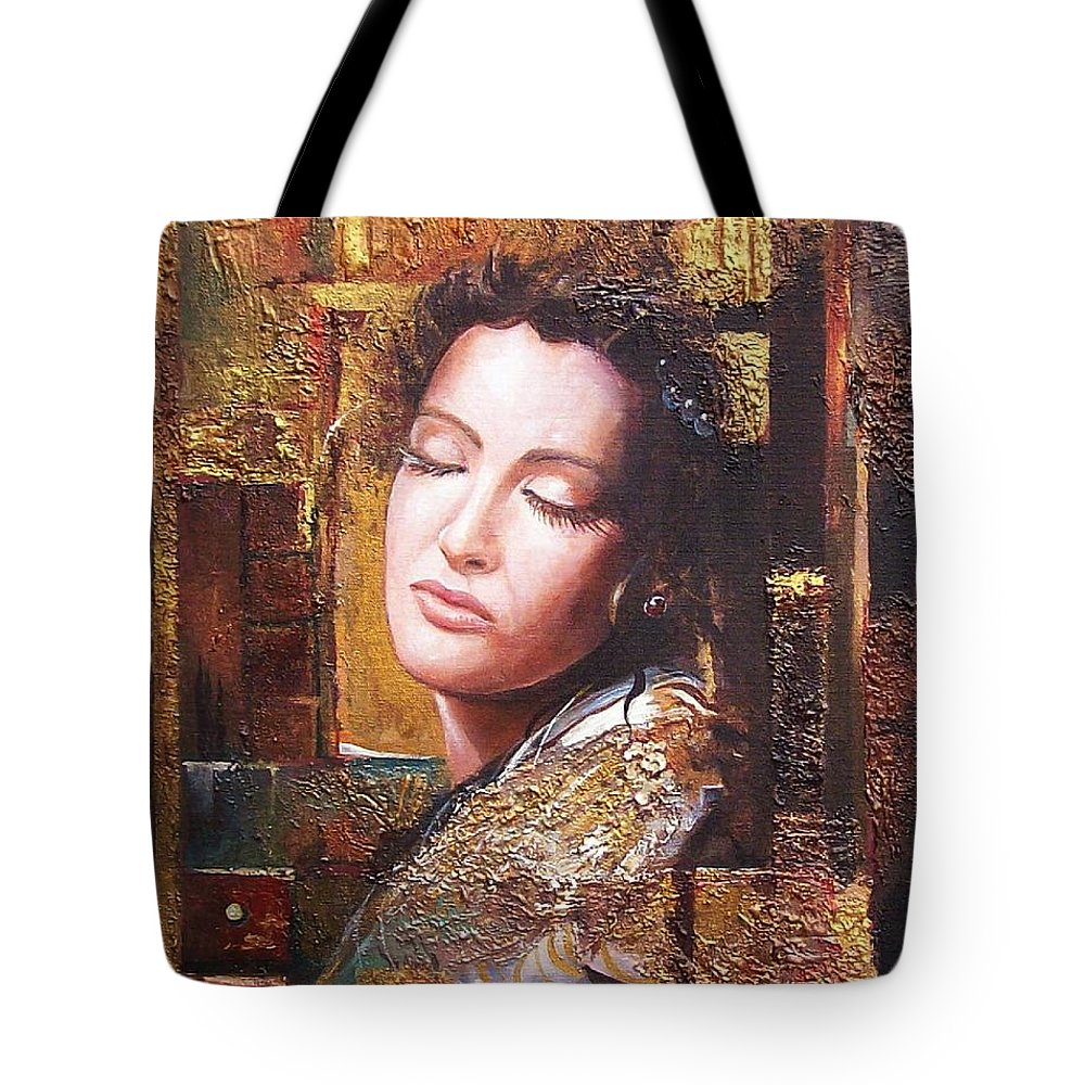 Female Portrait Tote Bag featuring the painting Because You Are Beautiful by Sinisa Saratlic