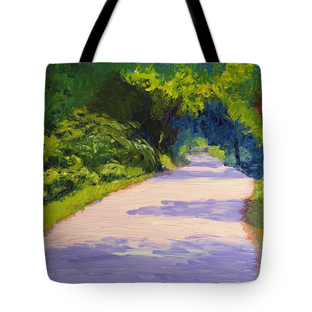 Path Tote Bag featuring the painting Beckoning Trail by Lea Novak