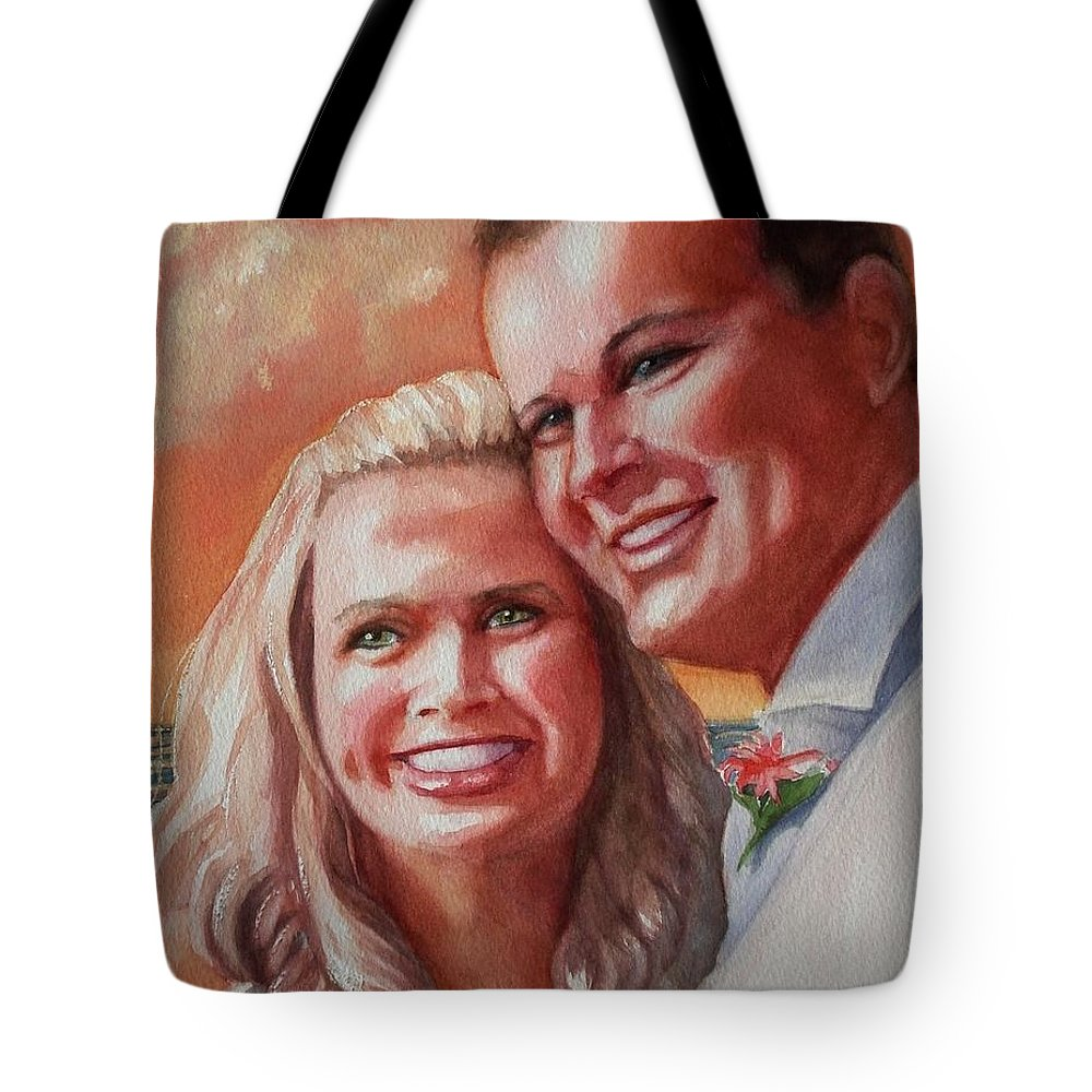 Couple Tote Bag featuring the painting Becky And Chris by Marilyn Jacobson