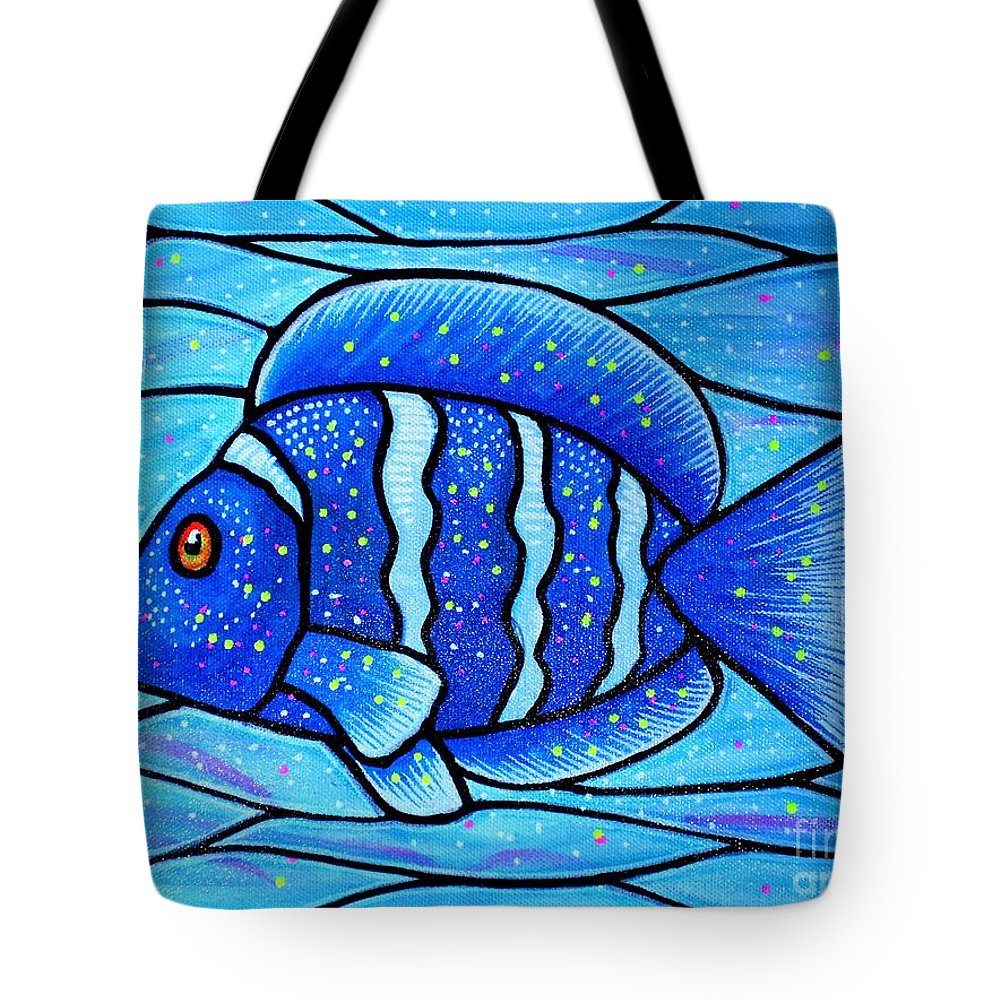 Tropical Fish Tote Bag featuring the painting Beckys Blue Tropical Fish by Jim Harris