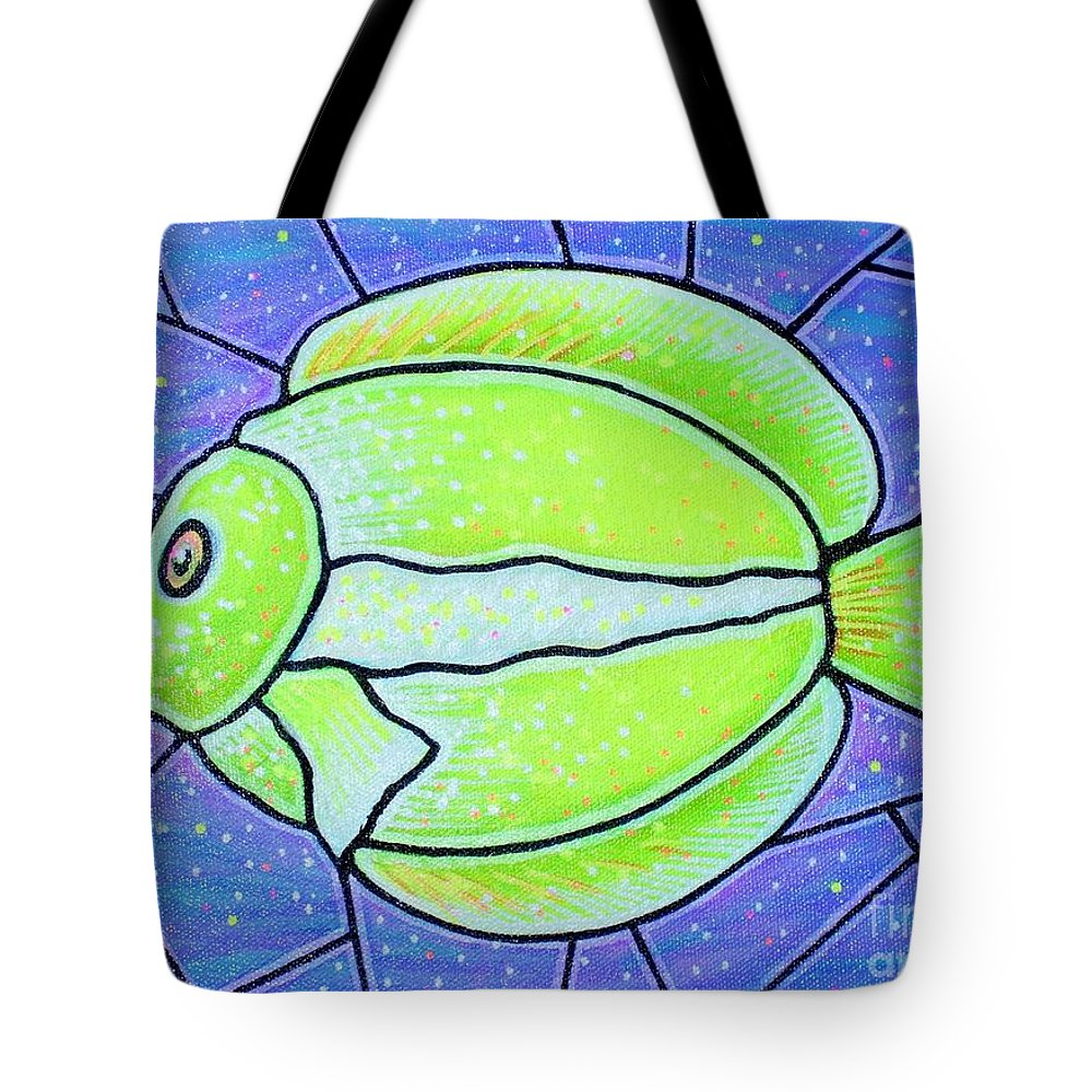 Tropical Fish Tote Bag featuring the painting Beckys Yellow Tropical Fish by Jim Harris