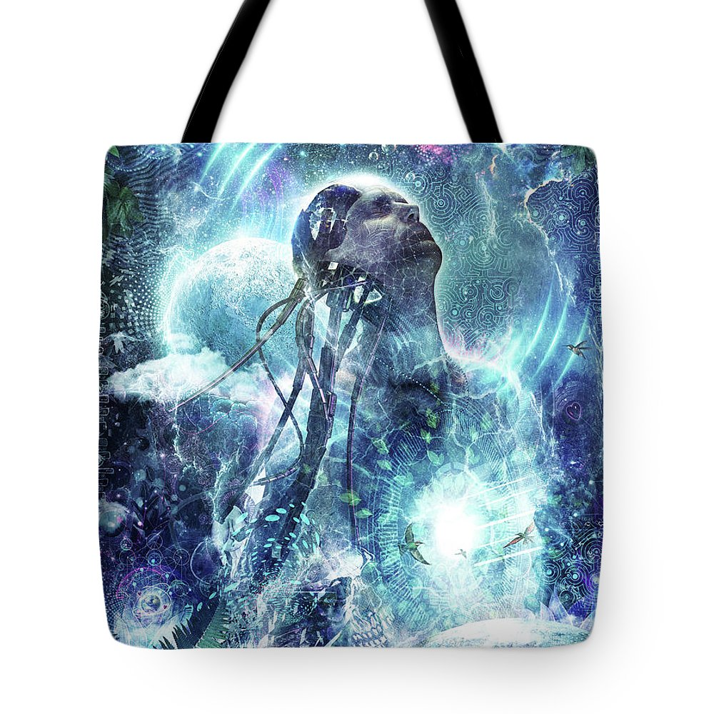 Blue Tote Bag featuring the digital art Become The Light by Cameron Gray