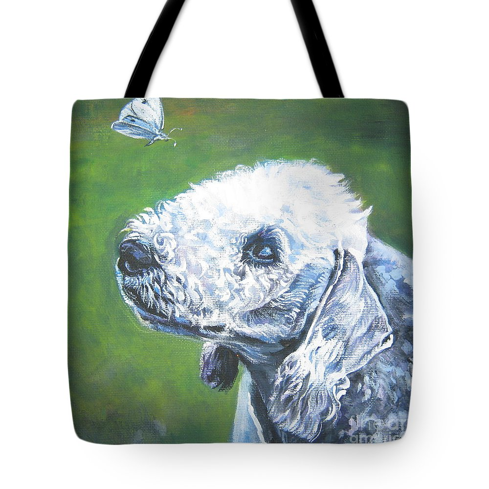 Bedlington Terrier Tote Bag featuring the painting Bedlington Terrier With Butterfly by Lee Ann Shepard