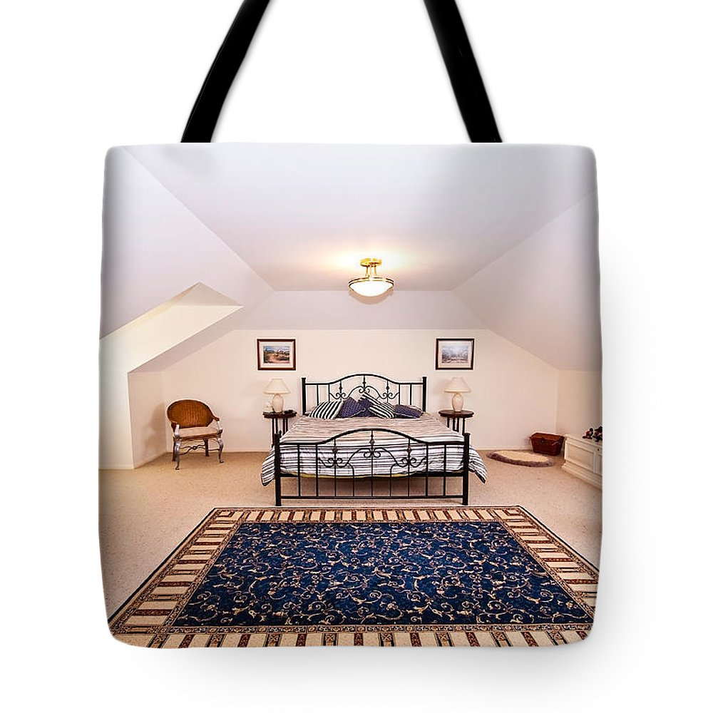 Loft Tote Bag featuring the photograph Bedroom With Sloping Ceiling by Darren Burton