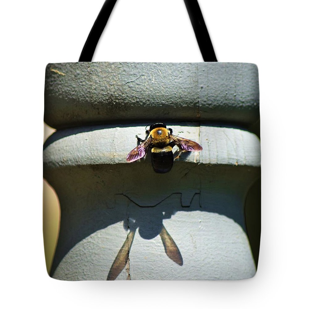 Nature Tote Bag featuring the photograph Bee And My Shadow by Cassandra Dice