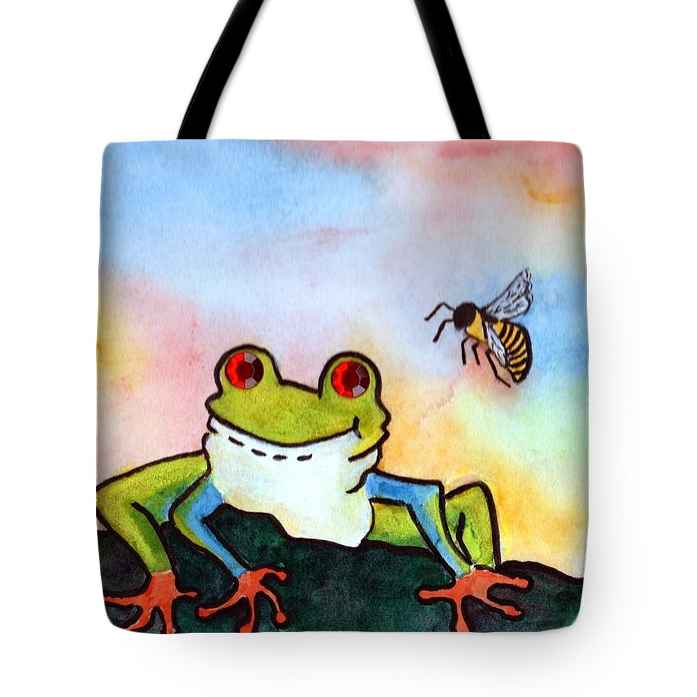Tree Frog Tote Bag featuring the painting Bee Hoppy by Robin Monroe