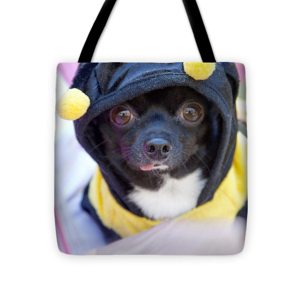 Dog Tote Bag featuring the photograph Chihuahua Says Bee Mine by Toni Hopper